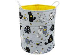 Storage basket, Decorative basket, Basket for toys, - Cats on grey/ yellow Fabric Bunting, Bunting Banner, Storing Blankets, Basket Lighting, Toy Basket, Teepee Tent, Basket Decoration, Grey Yellow, Kid Beds