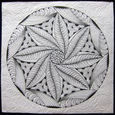 """Zentangle 20"""" Wall Quilt by Pat. Pat has more work, books, and classes at patfergusonquilts.com."""