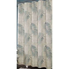 Shower Curtain In Blue Cream White Leaves Palm Tree Motif Textured Bathroom Neqw