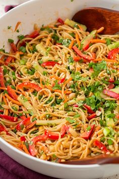 Spicy Peanut Thai Noodles - Cooking Classy - These Thai Noodles are tossed with a spicy peanut sauce and garnished with crunchy sesame seeds. You can adjust the spice level to suit your taste, but I like my peanut noodles super spicy! Spicy Peanut Noodles, Spicy Thai Noodles, Spicy Peanut Sauce, Thai Noodle Salad, Peanut Butter, Indian Food Recipes, Asian Recipes, Vegetarian Recipes, Cooking Recipes