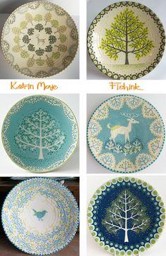 Katrin Moye Sending us dotty for her ceramics Pottery Painting, Ceramic Painting, Ceramic Artists, Pottery Plates, Ceramic Pottery, Pottery Art, Clay Plates, Ceramic Plates, Pottery Techniques