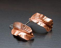 Copper Ruffle Fold Formed Earrings by amazedhandmade on Etsy, $29.00