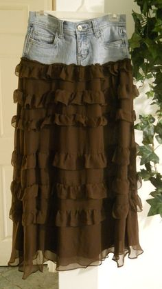 Mousse Au Chocolat jean skirt ruffled  tiered silk frou frou  frilly ultra femme French bohemian ballroom Renaissance Denim Couture. $86.00, via Etsy.