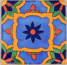 Details about Mexican Tile Folk Art Handmade Talavera Backsplash Handpainted… Clay Tiles, Ceramic Clay, Tile Patterns, Pattern Art, Mexican Folk Art, Mexican Tiles, Painted Rocks, Hand Painted, Tile Crafts
