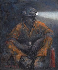 Valerie Ganz - Gwilym  #art #portrait #welshart #mining
