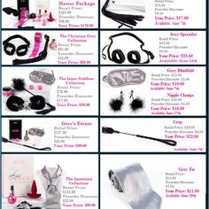 50 Shades of Grey, Darker & Freed Pure Romance Products that can be purchased.