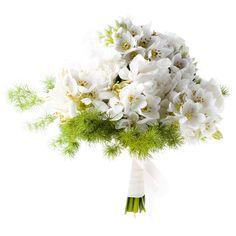 Shopping novias vestido encaje y pasamaneria: ramo de flores de Búcaro. Ramo de ornitogalum gigante y esparraguera, de Búcaro (120 €).