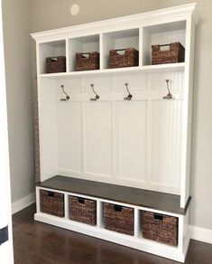 THE PENNSYLVANIA 4 section Entryway bench with storage/entryway furniture/coat rack/hall tree/mudroom/mudroom bench/shoe/coat/storage Entryway Bench Storage, Entry Bench, Bench Mudroom, Wall Storage, Porch Bench With Storage, Mudroom Cubbies, Storage Spaces, Hall Tree Bench, Hall Trees