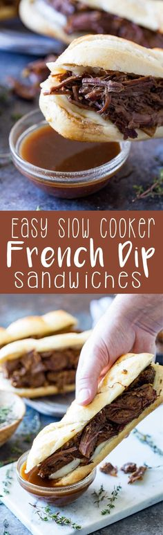 Easy Slow Cooker French Dip Sandwiches The most tender, delicious, flavorful French dip ever, and it only takes 10 minutes of prep! Easy Slow Cooker French Dip Sandwiches are a favorite meal at our house. We eat them at least once a week! Crock Pot Slow Cooker, Crock Pot Cooking, Slow Cooker Recipes, Crockpot Recipes, Cooking Recipes, Easy Crockpot Meals, Dinner Crockpot, Roast Recipes, Wrap Recipes