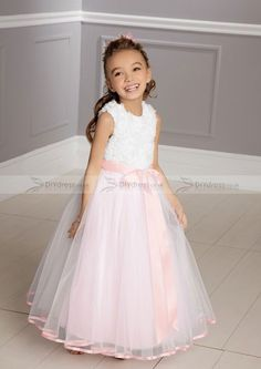 A-line Floor-length Lace Bodice White And Pink Flower Girls Dresses (10300122)