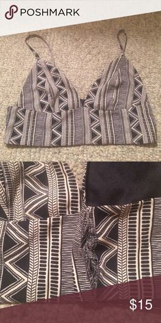 Out from under tribal print bralette Urban outfitters tribal print bralette. Black & beige. Incredibly comfortable & flattering. Size L fits best on 34 C - 32 D. Small tear in inside seam - easy to repair. Price reflects this. Urban Outfitters Intimates & Sleepwear Bras