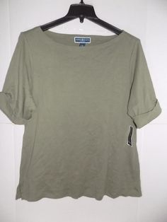 5e0a90f1a2332 (eBay link) WTC2658 Karen Scott Women Plus Olive Boat Neck Cuffed Sleeve  Shirt NWT