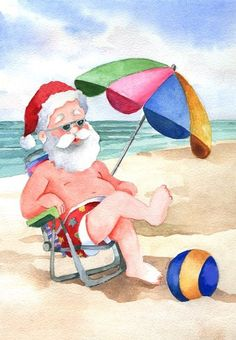 Santa has been spotted on the beach enjoying his summer vacation.  ONLY 157 DAYS UNTIL CHRISTMAS!!