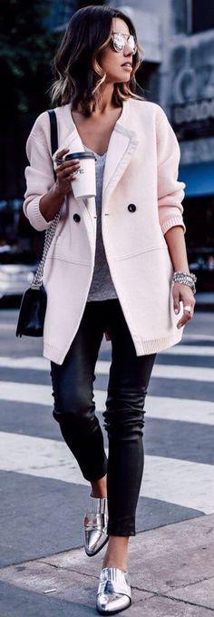 Black pants, silver flats, Anabelle Fleur, coffee