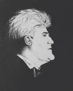 Jay Leno drawn in black ballpoint pen by Donna Taranto