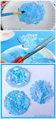 Doily Snowflakes - Winter craft for kids to make! | CraftyMorning.com