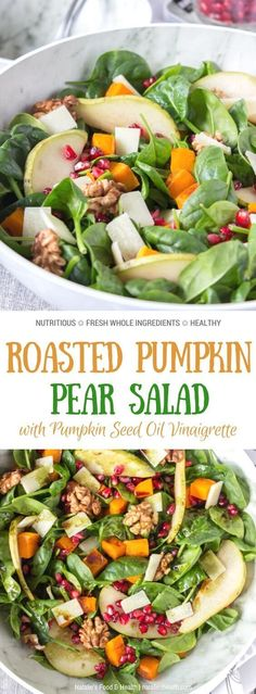 This delicious Roast Pumpkin Pear Salad is made with all FRESH and seasonal ingredients - greens roasted pumpkin pomegranate pear and crunchy walnuts. It's nutritionally enriched with Grana Padano cheese and tossed in a Pumpkin Seed Oil Vinaigrette. New Recipes, Real Food Recipes, Dinner Recipes, Favorite Recipes, Amazing Recipes, Delicious Recipes, Easy Recipes, Recipies, Easy Salads