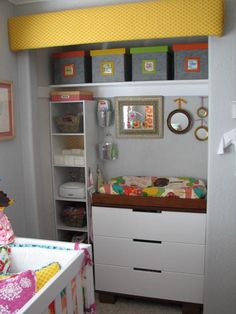 putting changing table in closet could save space in nursery/guest room combo ( not just the changing table but a dresser too in kids rooms. But keep door if ever have to change back. )