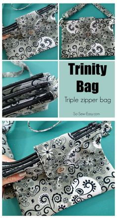 The Trinity Bag - Triple Zipper bag pdf sewing pattern. This intermediate sewing pattern makes not just one bag, but three in one.