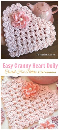 Crochet crafts 788481847241038839 - Easy Granny Heart Doily Crochet Free Pattern [Video] – Small Doily Free Crochet Patterns Source by lawilkerie Free Crochet Doily Patterns, Crochet Squares, Crochet Motif, Crochet Designs, Crochet Doilies, Crochet Yarn, Knitting Patterns, Free Pattern, Crochet Hearts