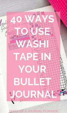 Washi Tape ideas for Bullet Journals. How to use washi tape in your bujo, over 40 creative washi tape ideas you will love. Bullet Journal Washi Tape, Digital Bullet Journal, Bullet Journal And Diary, Bullet Journal For Beginners, Bullet Journal Hacks, Bullet Journal How To Start A, Bullet Journal Layout, Bullet Journal Inspiration, Bullet Journals