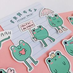 Froggy is the best little friend! Take him on adventures with you on your phone, laptop or stick him in your growing sticker collection drawer. Kawaii Doodles, Cute Doodles, Kawaii Art, Cute Little Drawings, Cute Drawings, Kawaii Stickers, Cute Stickers, Sticker Shop, Sticker Design