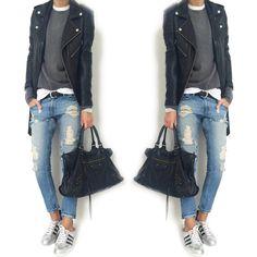 """Mi piace"": 2,880, commenti: 72 - @mademoiselle__k su Instagram: ""#ootd #asos #asossweater #cashmeresweater #blackorchiddenim #blkdnm #blkdnmleatherjacket #adidas…"""