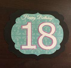 Gabby's 18th birthday card made with silhouette cameo. Black, Aqua, purple, white. Ornate frame