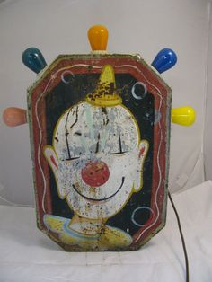 Vintage Carnival Ride Sign from A Tilt A Whirl Ride Lighted Clown Sign