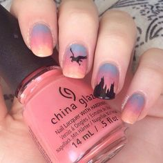 Flight of the hippogriff with @ciatelondon 'Chinchilla' @chinaglazeofficial 'Pinking Out The Window' and @nailsinc 'You're A Peach'.