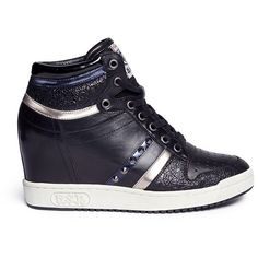 Ash 'Prince' stud high top leather wedge sneakers (14.650 RUB) ❤ liked on Polyvore featuring shoes, sneakers, black, black high tops, hidden wedge sneakers, leather wedge sneakers, wedge sneakers and hi top wedge sneakers
