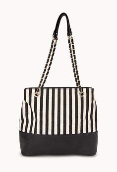 Striped Faux Leather-Trim Tote $30