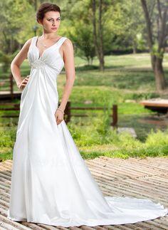 Wedding Dresses - $146.99 - Empire V-neck Court Train Charmeuse Wedding Dress With Ruffle Beading (002011454) http://jjshouse.com/Empire-V-Neck-Court-Train-Charmeuse-Wedding-Dress-With-Ruffle-Beading-002011454-g11454?snsref=pt&utm_content=pt