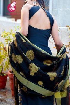Black Cotton Silk Golden Brocade Padded Kurti with Black Cotton Silk Pants and Black Chaderi Dupatta Salwar Neck Designs, Neck Designs For Suits, Kurta Neck Design, Kurta Designs Women, Blouse Designs, Kurti Back Neck Designs, Stylish Kurtis Design, Stylish Dress Designs, Designs For Dresses