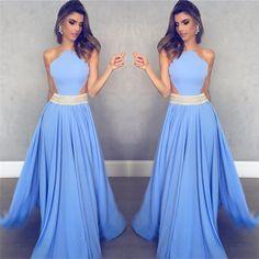 Sleeveless Sheer Back Sexy Formal Dresses Cheap 2018 Blue Crystals Beads Belt Evening Gowns