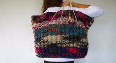 I'm a very very very very big multicolor hand knitted handbag, XXL bag and oversized bag!, the perfect company for a long long day shopping! on Etsy, $101.81