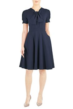 I <3 this Tie-neck cotton knit dress from eShakti