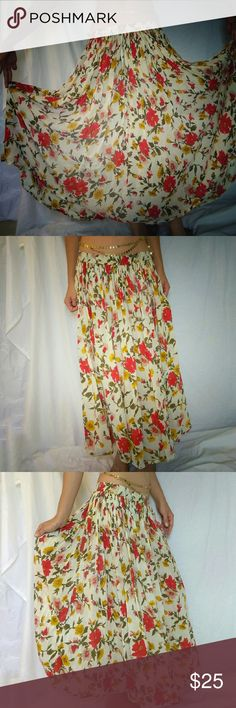 Vintage 100% Cotton Autumn Floral Prairie Skirt Very wearable Vintage prairie skirt. Beautiful autumn colours. I got so many compliments. It's made of 100%cotton. Size medium but Will fit a small. Elastics band waist. New Mints Skirts Maxi