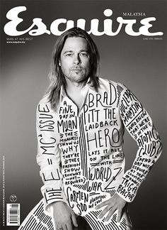 Esquire Malaysia used the original photo of Brad Pitt from US Esquire and added some sweet type stuff Magazine Front Cover, Magazine Cover Design, Magazine Covers, Font Design, Typography Design, Graphic Design, App Design, Editorial Layout, Editorial Design