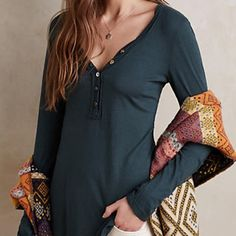 FINAL MARKDOWN! Anthropologie t.la sava henley Excellent like new condition! Anthropologie sava henley by t.la. Size s. 50% cotton 50% modal. Offers welcome! Anthropologie Tops Tees - Long Sleeve