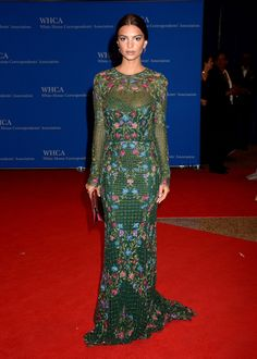 Emily Ratajkowski looking dashing in stunning sheer green gown | At the White House Correspondent's Association Dinner, 30 Apr 2016