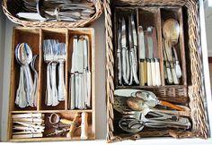 Organize your kitchen drawers with #wicker baskets from www.basketlady.com.