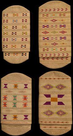 Unangan (Attu Aleut) wallets ca. 1880–1900 Aleutian Islands, Alaska Rye grass, silk thread 15 x 8 cm S. Prescott Fay Collection & Judge Nathan Bijur Collection  http://nmai.si.edu/exhibitions/infinityofnations/arctic-subarctic/218411.html