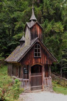 wooden chapel, historic alpine village, Austria