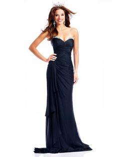 Affordable Sheath Sweetheart Navy Blue Chiffon Evening / Prom / Formal Dresses 601010