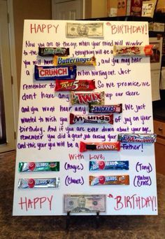 Birthday Party Ideas For Men 50th Candy Card