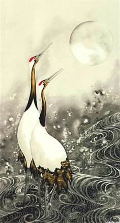 "- Quilt Fabrics from www.eQuilter.comGreeting the Moon - Red Crowned Cranes - 24"" x 44"""