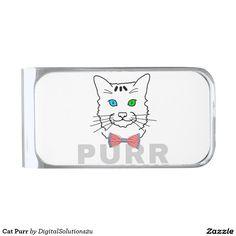Cat Purr Silver Finish Money Clip