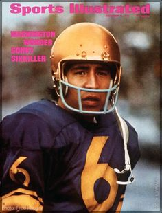 """QUARTERBACK SIXKILLER wearing famous purple football jersy and gold helmet photographed on the cover of """"Sports Illustrated"""" magazine as the """"Washington Wonder,"""" October (photo Frank Kaplan) Native American Actors, Native American History, Native American Indians, Native Americans, College Football Players, Nfl Football, Football Helmets, Husky Football, Football Images"""