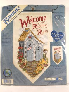 Reading Room Banner Hanger Dimensions Cross Stitch Kit Bathroom Outhouse Sign   #Dimensions